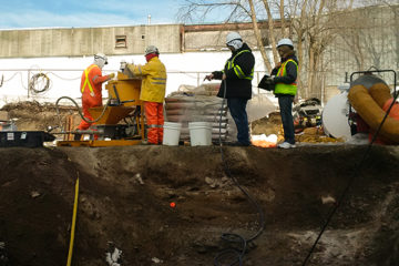 Cement grouting in open trench