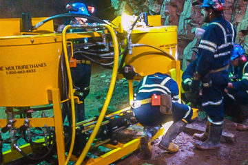 Training on grouting equipment at mine site