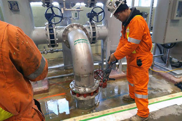 Leak sealing and crack injection around industrial pipe penetrations