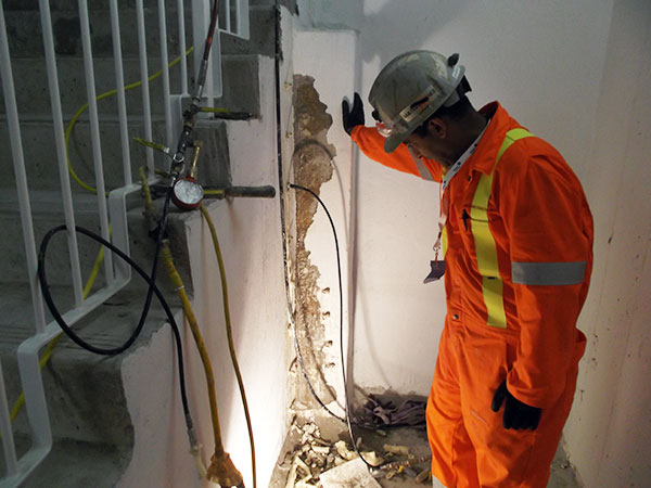 void filling and crack injection in concrete walls